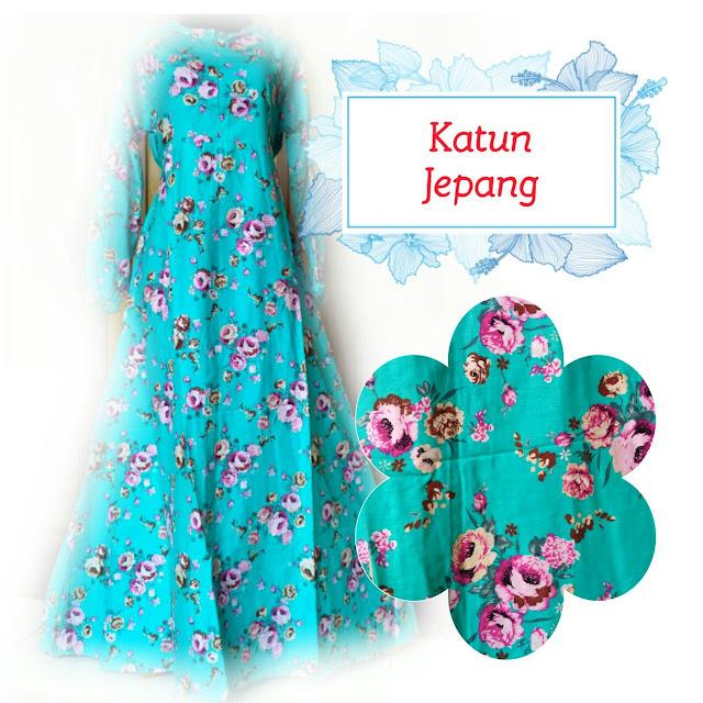 gamis katun jepang motif bunga warna favorit