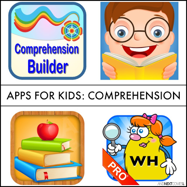 Speech apps for kids with autism or hyperlexia to work on comprehension, WH questions, making inferences, and receptive language from And Next Comes L