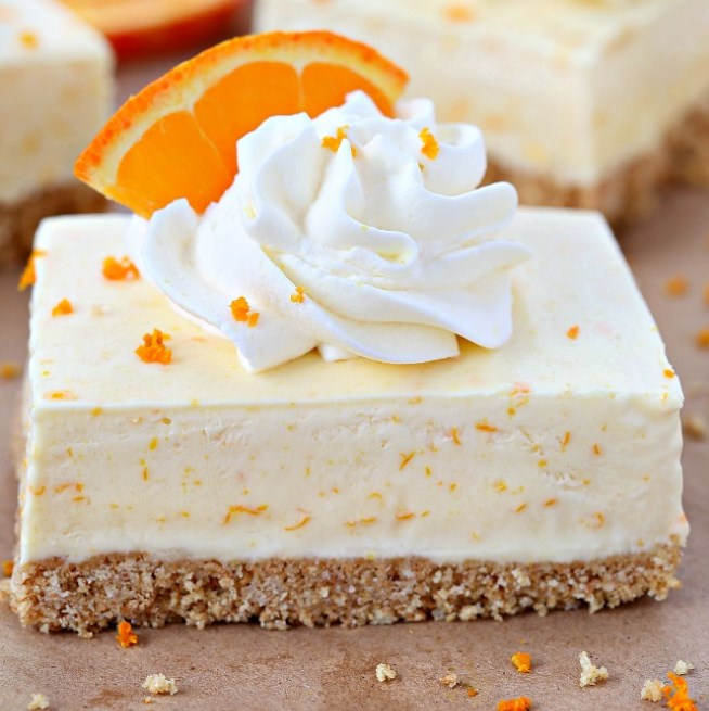 Orange Dreamsicle Pie Bars #summer #dessert