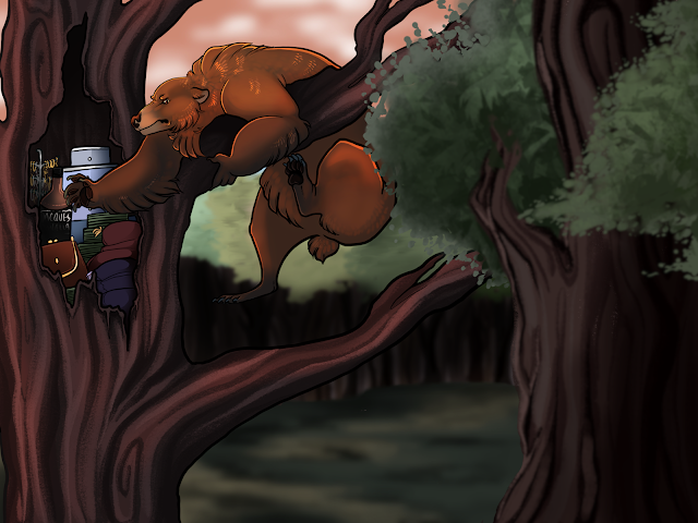 A bear dangling in a tree while digging into a stash of fancy and expensive things