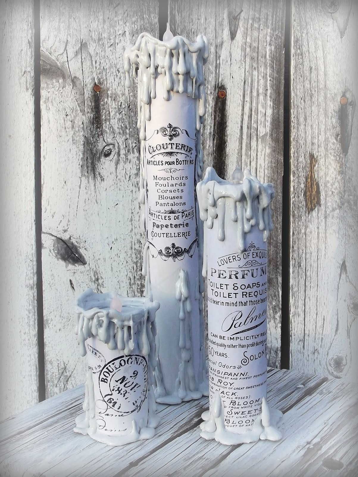 Collettestreasures Diy Vintage French Graphics Paper Towel Roll Candles