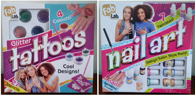 FabLab Glitter Tattoo & Nail Art kits in the boxes