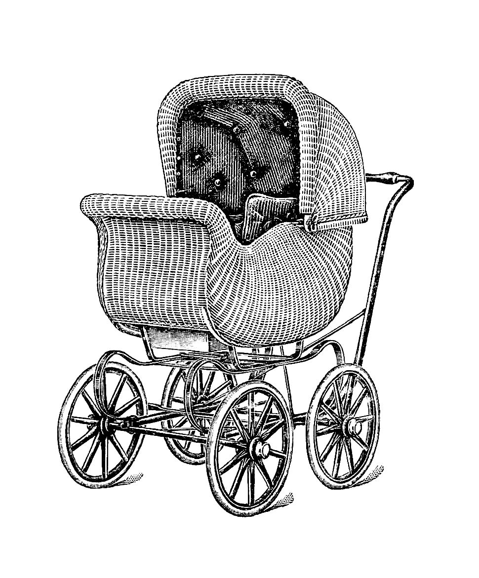 Antique Images: Free Antique Graphic: Antique Wicker Baby ...