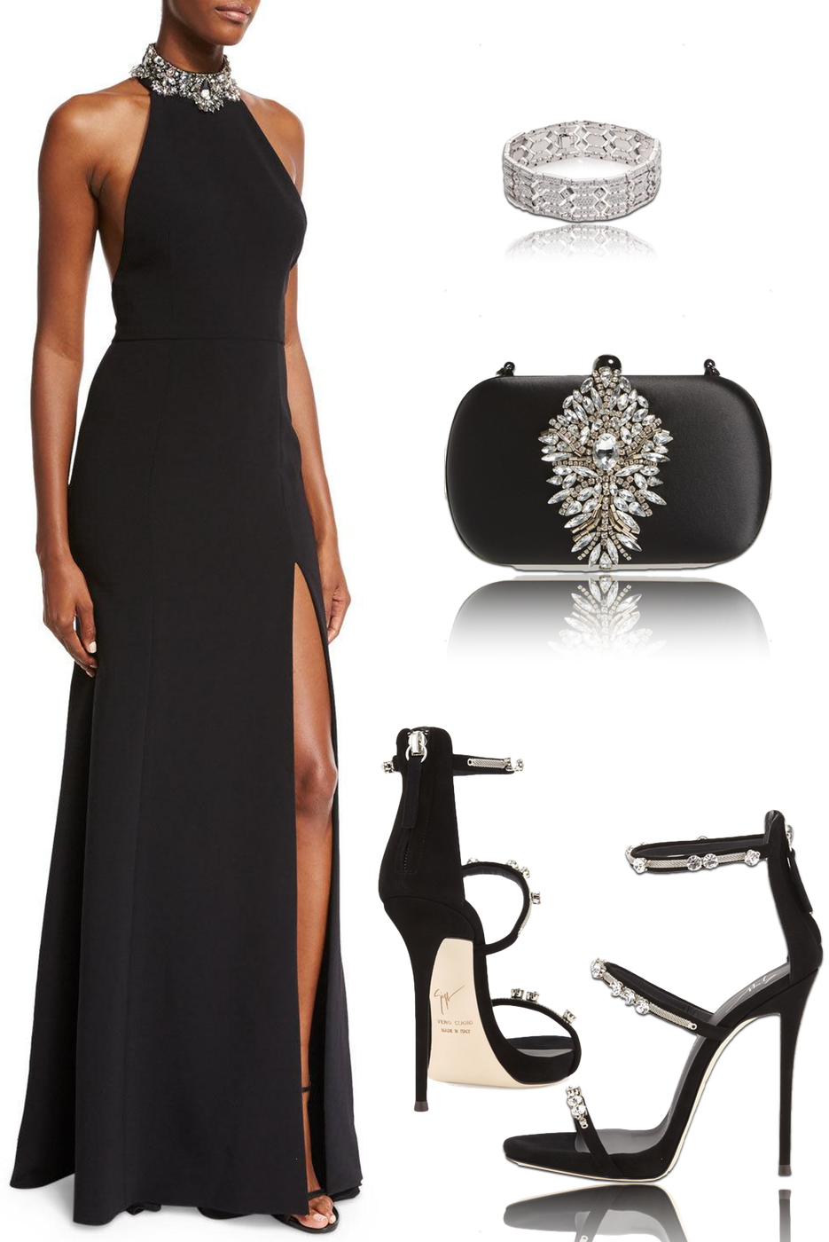 Marchesa Notte Sleeveless Embellished Ponte Gown, Black