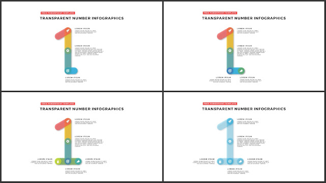 Infographic Transparent Design Elements for PowerPoint Templates in white background using Number 1