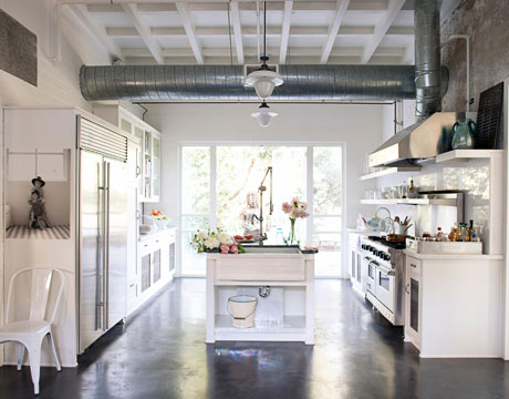 Gorgeous white modern farmhouse industrial kitchen on Hello Lovely Studio