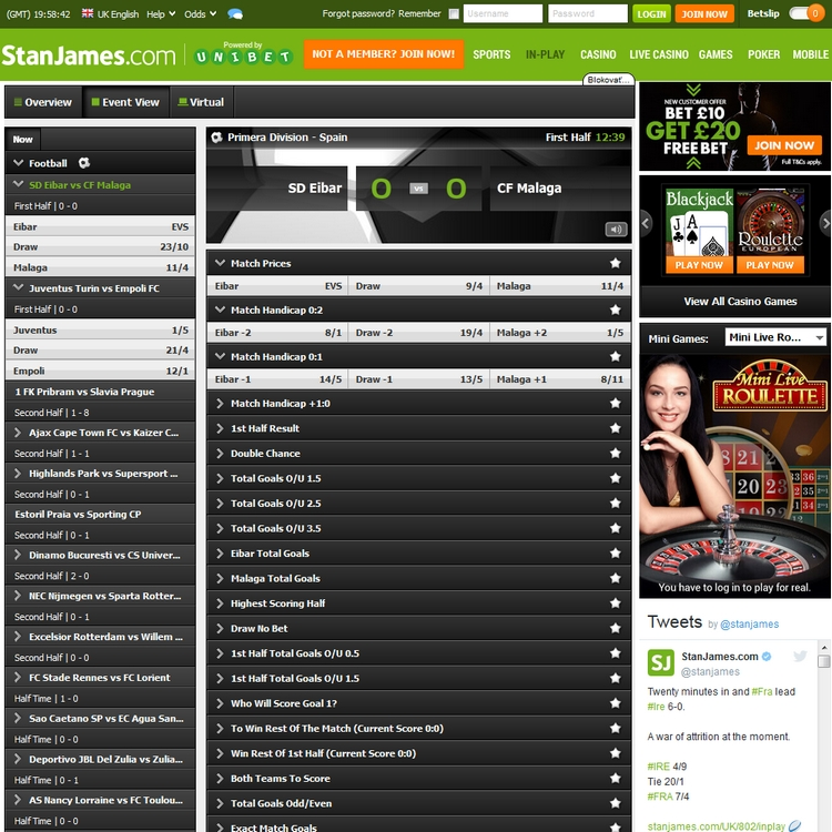 Stan James Live Betting Offers
