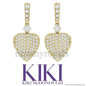 Kate Middleton - KIKI McDonough Lauren Yellow Gold Pave Diamond Leaf Earrings