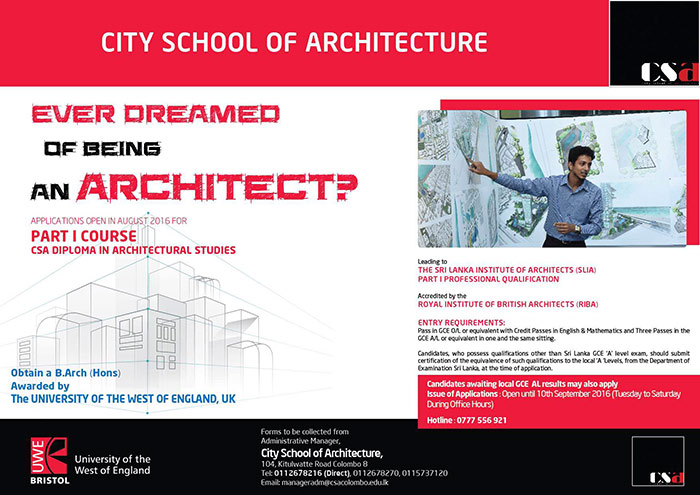 """The City School of Architecture (CSA) offers an alternate career in architecture based on a """"Learn while you Work"""" concept. The course is tailor-made to talented individuals – school leavers and mature students, and allows students to pursue an academic career in architecture, whilst apprenticing under a Chartered Architect. The part-time structure enables students to form working relationships and establish direct links with the construction industry.  The School has on offer two courses of study – The three year CSA Part I / Diploma in Architecture Course (Full Time) and the three year CSA Part II / Advanced Diploma in Architecture Course (Part Time), which prepares students towards the Parts I & II of the SLIA Professional Practice Examinations."""