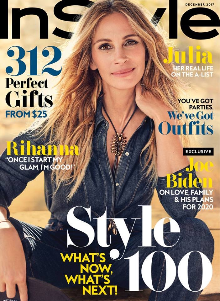 julia roberts on the december 2017 cover of instyle magazine. Black Bedroom Furniture Sets. Home Design Ideas