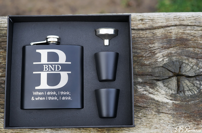Engraved Black Hip Flask from giftsonline4u