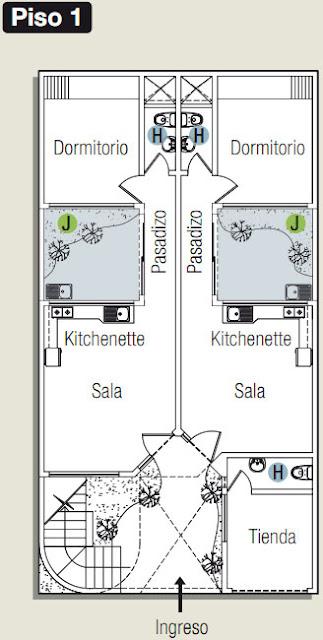 Planos de casa con estudio oficina en 120m2 todo para for Casa y jardin tienda