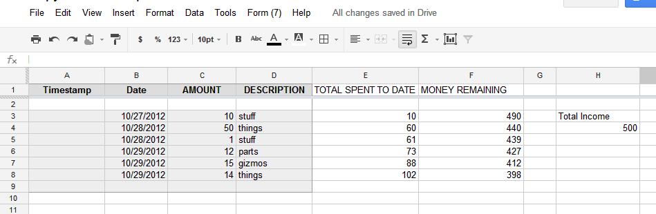 iGoogleDrive: Google Spreadsheet Formula for cummulative sum