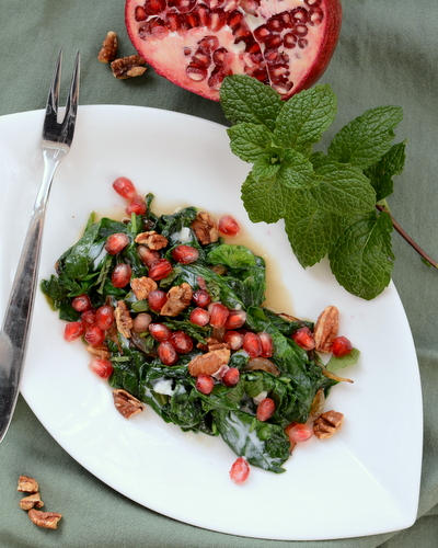 Red & Green Warm Spinach Salad, another simple, seasonal salad ♥ AVeggieVenture.com