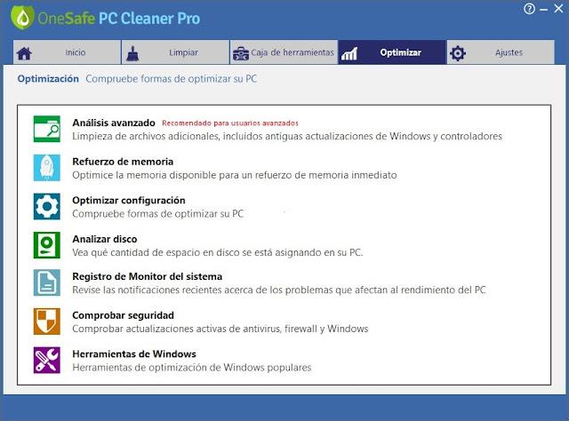 OneSafe PC Cleaner Pro imagenes
