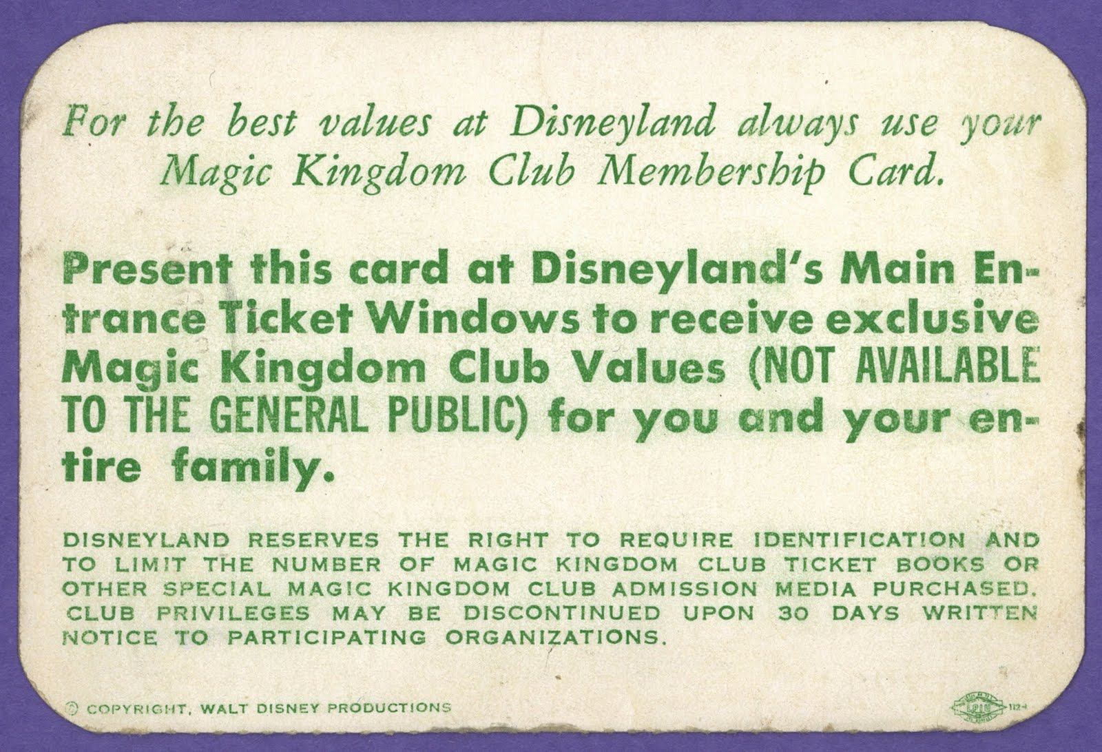 Vintage Disneyland Tickets Magic Kingdom Club Membership