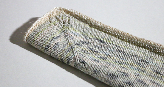 Hand Knit Cotton Basket Liner with Lace Leaf Detail in Corners
