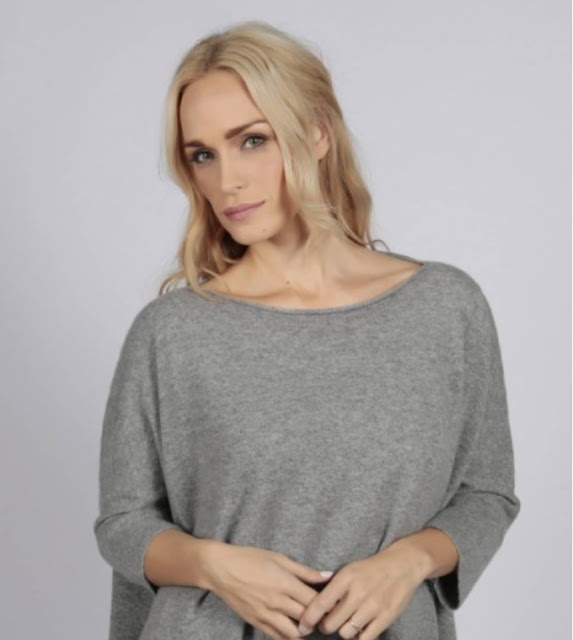 Italy In cashmere light grey pure cashmere short sleeve oversized batwing sweater