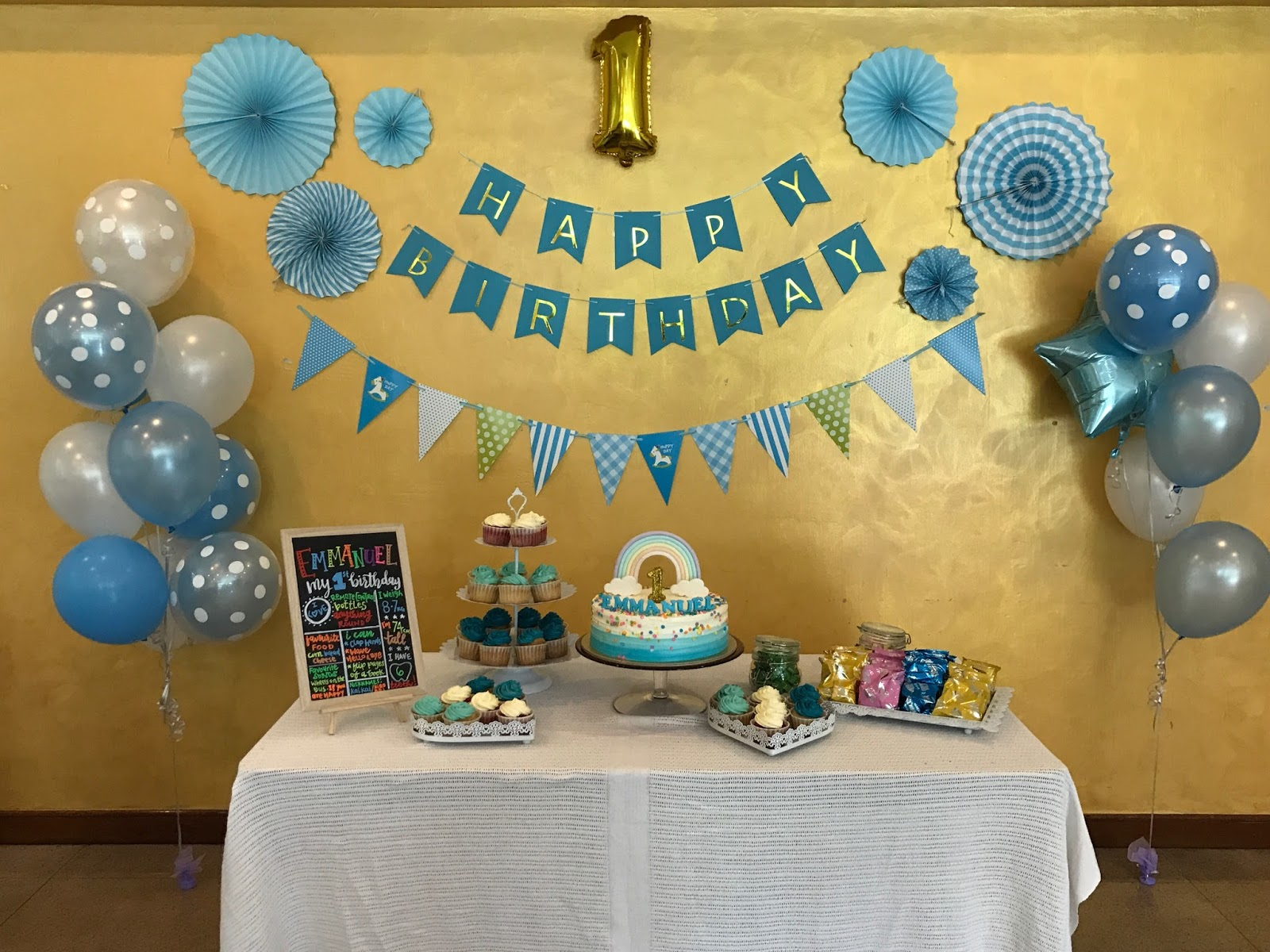 So It Was An Honor To Bake For My College Friends Baby Emmanuel 1st Birthday Party A Pastel Blue Theme Mummy Wanted Ombre And White