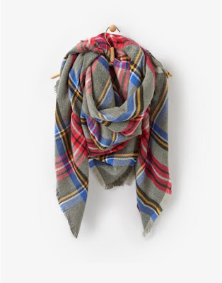 Joules Grey Check Heyford Soft Oversized Woven Scarf