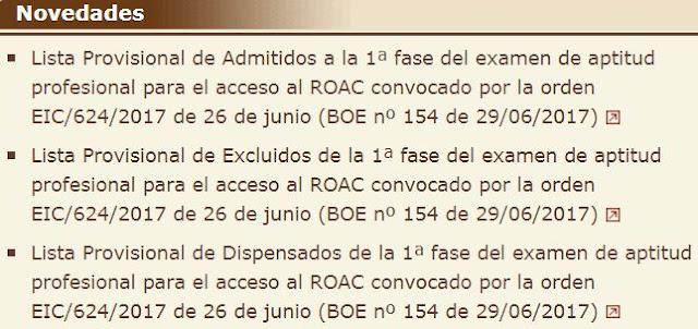 Examen ROAC 2017 listas provisionales aspirantes admitidos, excluidos y dispensados