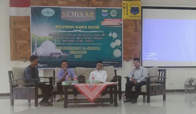 Seminar Meng-Aswaja-kan Media di Universitas Negeri Semarang (Unnes), bersama KH. Ubaidillah Shodaqoh dan M. Rikza Chamami sebagai tokoh NU