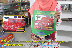 Sprei California Verena Queen Fitted 160×200 2 Sarung Bantal 2 Sarung Guling Merah Ornamen Batik Dewasa Katun