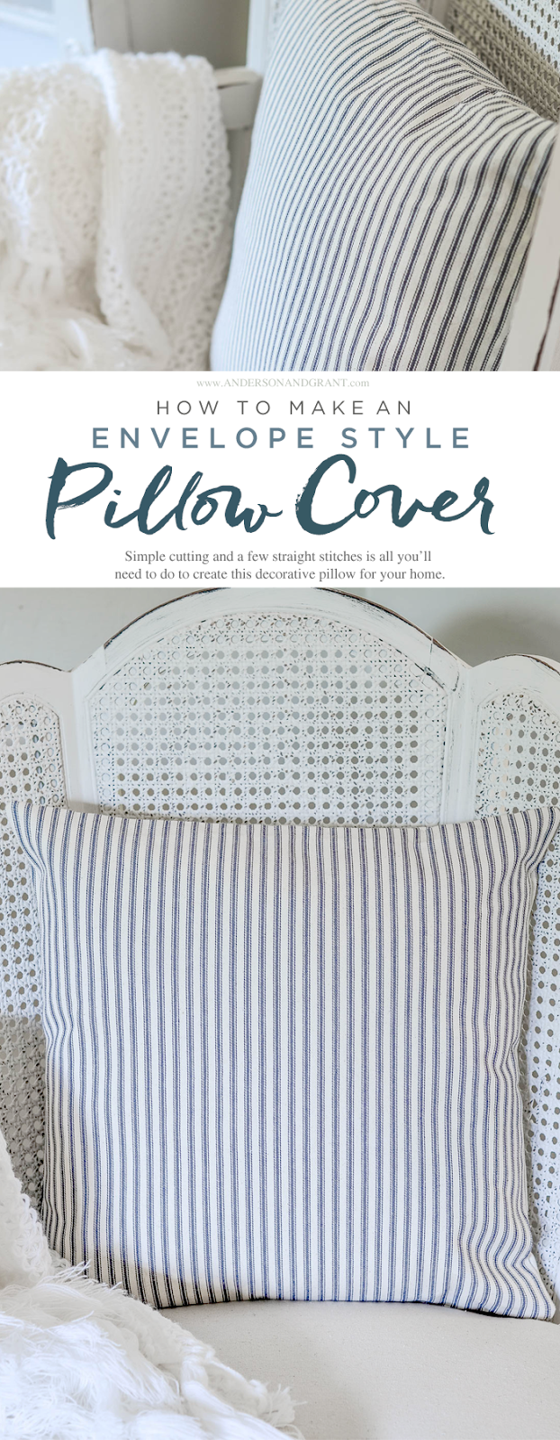 How to Make an Envelope Pillow Cover Tutorial - an easy project for a sewing beginner #DIY #sewing #DIYpillow #andersonandgrant