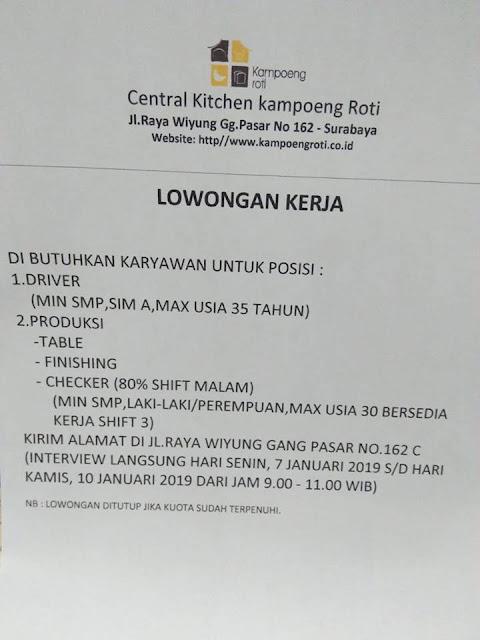 lowongan kerja driver central kitchen kampoeng roti surabaya