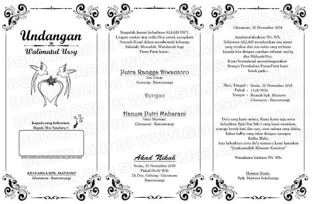undangan pernikahan lipat 3 word, psd, cdr | gelaspecah.id