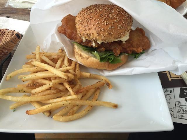 Fish burger and herb fries at Seafood Caravan 10 Nishinomiya
