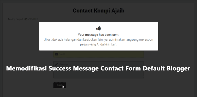 Memodifikasi Success Message Contact Form Default Blogger