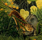 Lucha entre un tigre y un búfalo, por Rousseau
