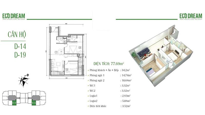 Thiết kế căn hộ 2PN, 77m2 chung cư Eco Dream