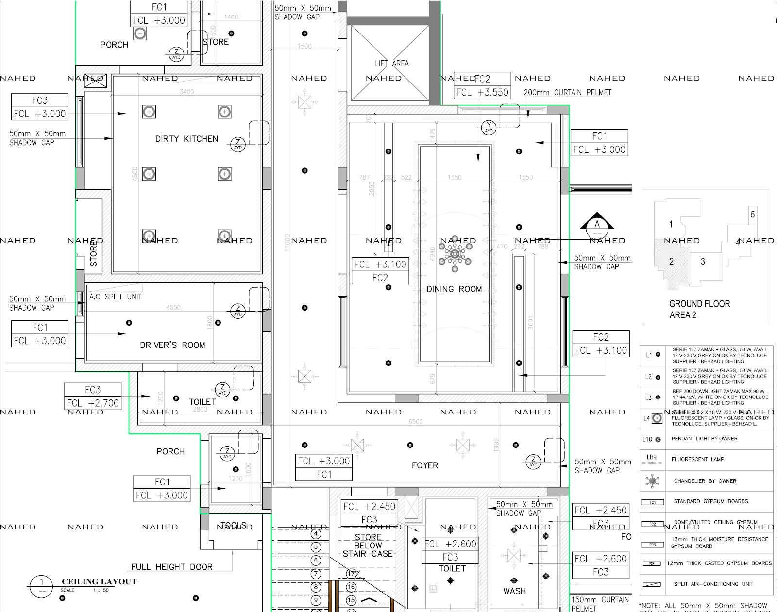 Private Villa Ceiling Setout Layout Detail Working