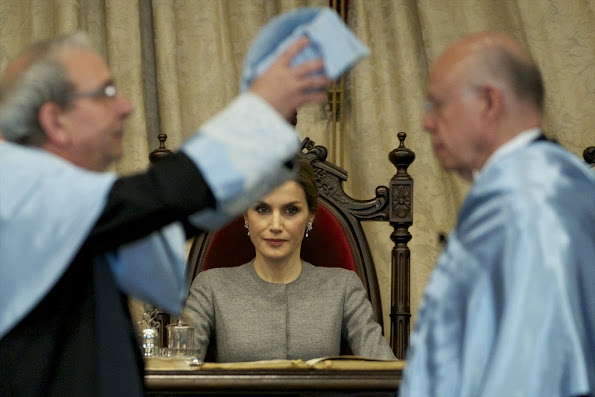 King Felipe VI of Spain and Queen Letizia of Spain attend investiture of honorary doctors by Salamanca's University at Paraninfo of Salamanca's University on April 5, 2016 in Salamanca. Queen Letizia tiara, diamond, wedding dress, jewelery, diamond earrings