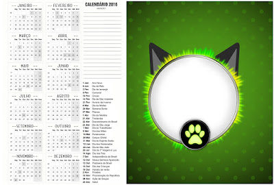 Calendario 2016 para imprimir gratis de Cat Noir.