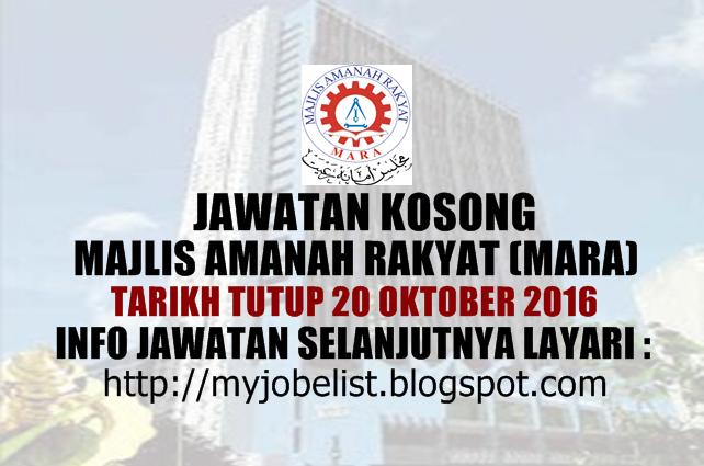 Jawatan Kosong Majlis Amanah Rakyat (MARA) Oktober 2016