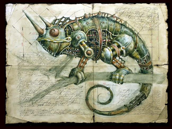 09-Vladimir-Gvozdev-Surreal-Steampunk-Animal-Drawings-www-designstack-co