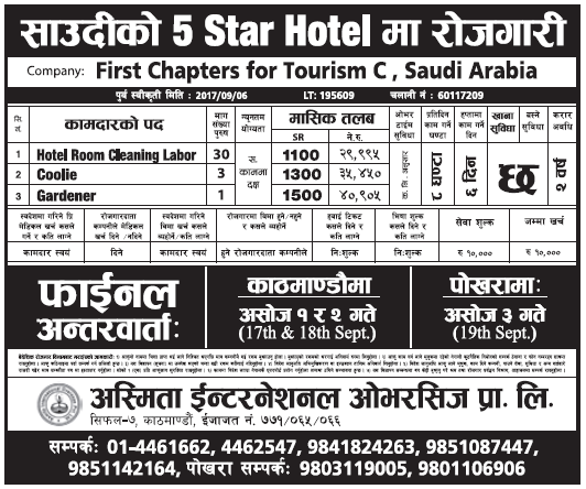 Jobs in Saudi Arabia 5 Star Hotel for Nepali, Salary Rs 40,905