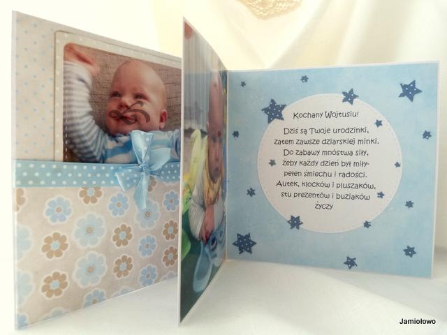 kartka w niebieskich kolorkach dla chłopca ze zdjęciami
