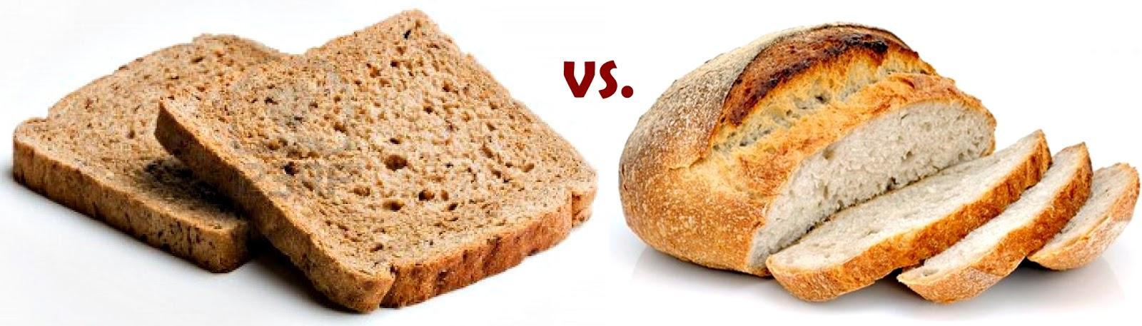 Resultado de imagen para pan integral vs pan blanco