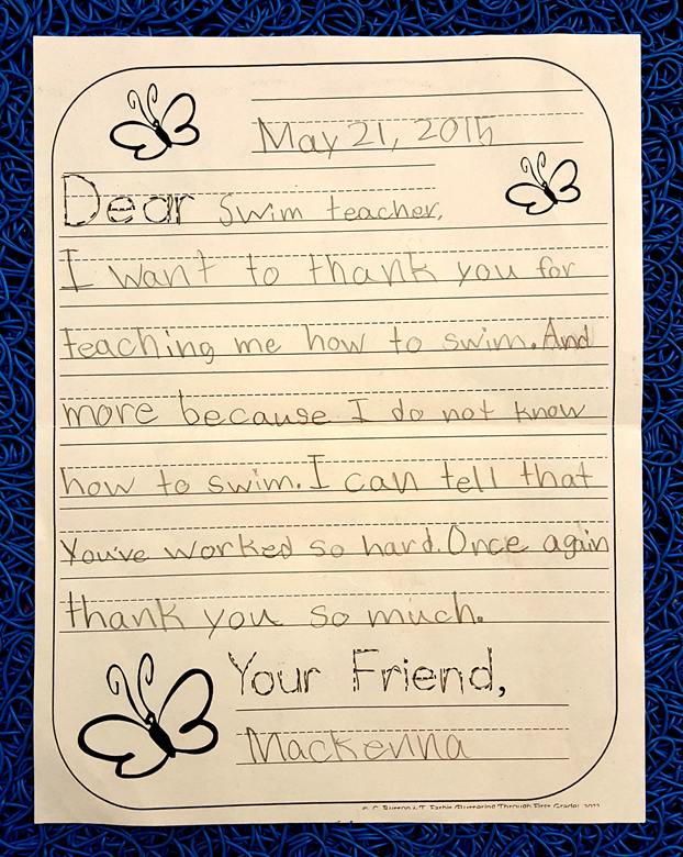 Letter from a Happy Swimmer