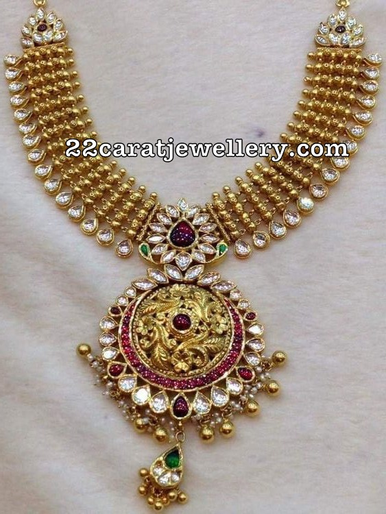 Antique Necklace with Kundan Pendant