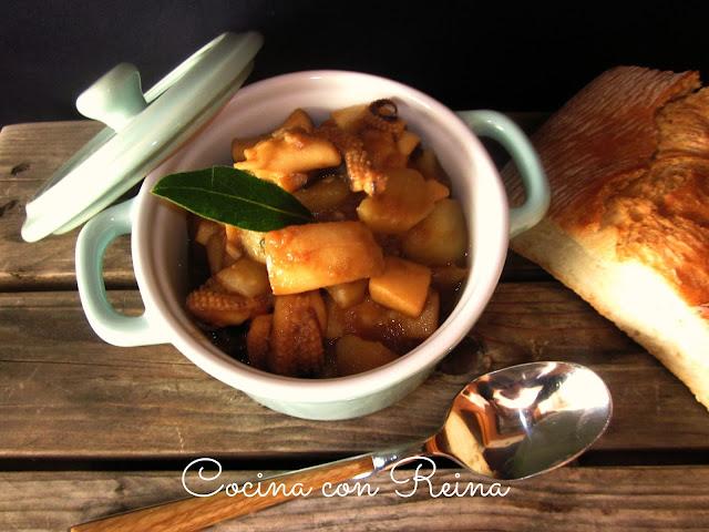 Sepia rehogada con patatas - Cocina con Reina