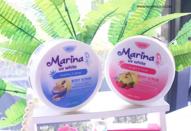 REVIEW Marina UV White Healthy & Glow Body scrub and Body Lotion