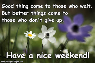Good thing come to those who wait. But better things come to those who don't give up. Have a nice weekend!