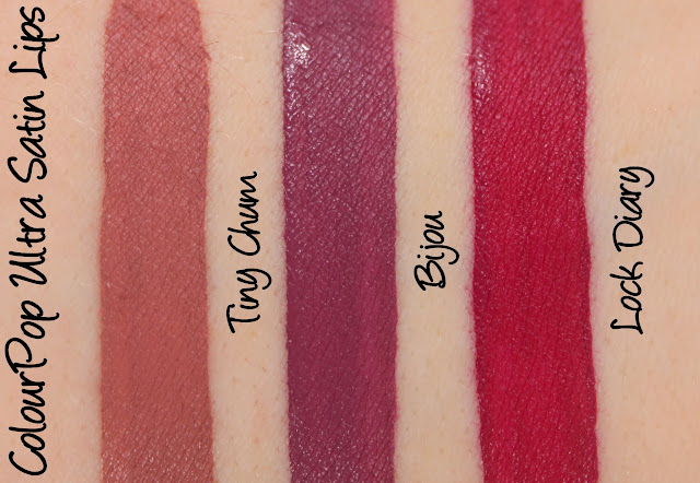 ColourPop Ultra Satin Lips - Tiny Chum, Bijou and Lock Diary Swatches & Review