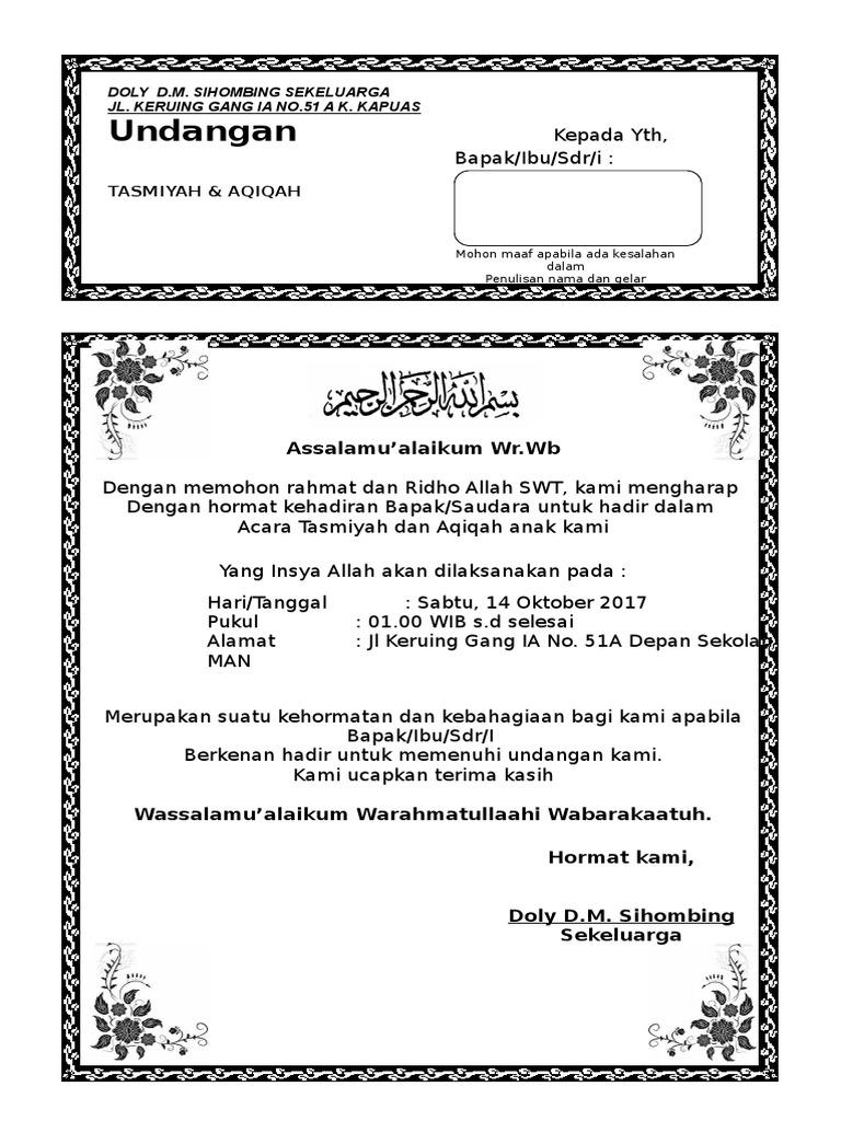 Undangan Aqiqah Yang Bisa Di Edit Wood Scribd Indo