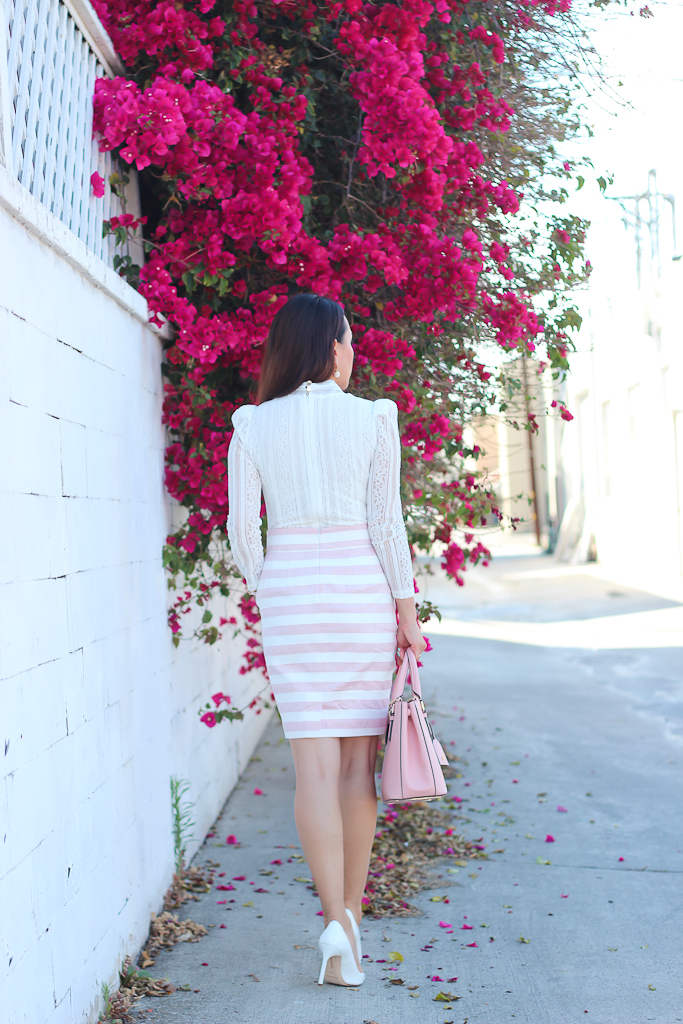 Embroidered white bow blouse Ily Couture double wrap crystal pearl bracelet, Loft petite high waist sailor pencil skirt Manolo Blahnik white BB pumps Michael Kors runway gold pink watch Tory Burch Mini Robinson tote in rose sachet